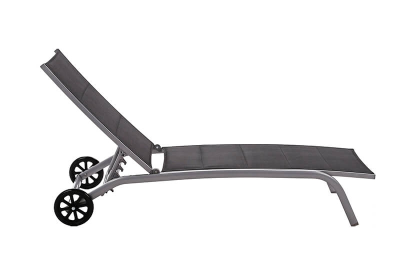 Leżak ogrodowy aluminiowy Olivier Silver/ Black