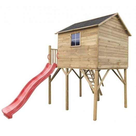 Drewniany domek ogrodowy dla dzieci - Jacek max ze ślizgiem