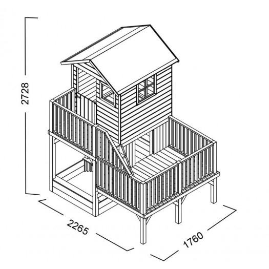 Drewniany domek Hipcio z podwójną huśtawką dwoma ślizgami i ścianką wspinaczkową