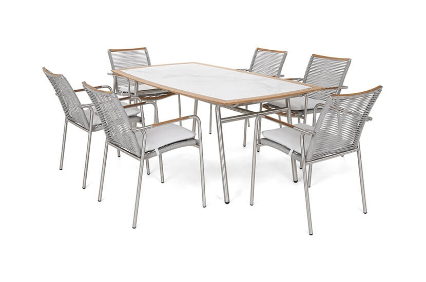 Meble ogrodowe aluminiowe Kalabria Silver/Grey 6+1