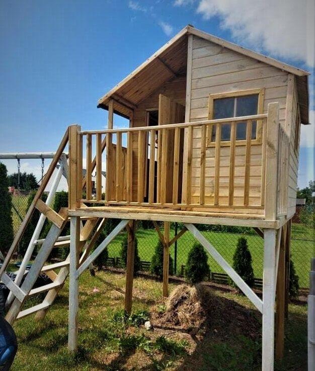 Drewniany domek ogrodowy dla dzieci - Jacek max ze ślizgiem i huśtawką