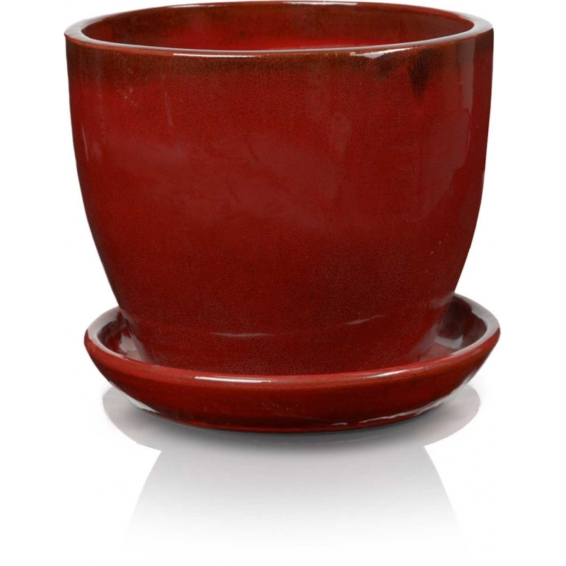 Klasyczna donica szkliwiona o okrągłej podstawie - czerwona; średnica 23 cm; wysokość 20 cm