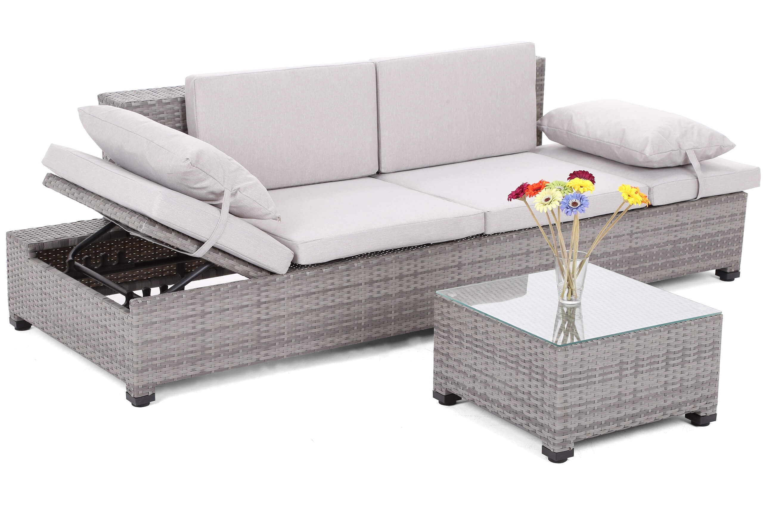 Sofa ogrodowa technorattanowy Turyn Grey Light/ Grey + stolik
