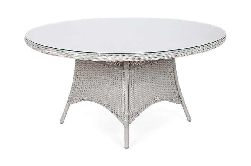 Meble ogrodowe technorattanowe Ikar Round 150 cm White / Grey 6+1
