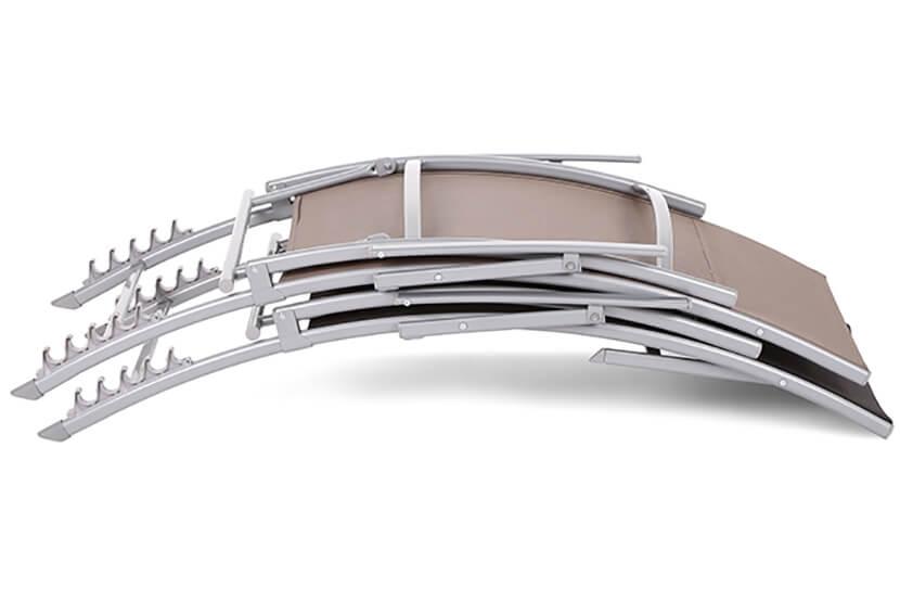 Leżak ogrodowy metalowy Lumba Silver / Taupe