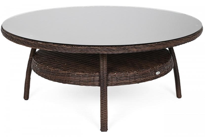 Meble ogrodowe technorattanowe Ikar Round 180 cm Brown Mat / Brown Melange 8+1