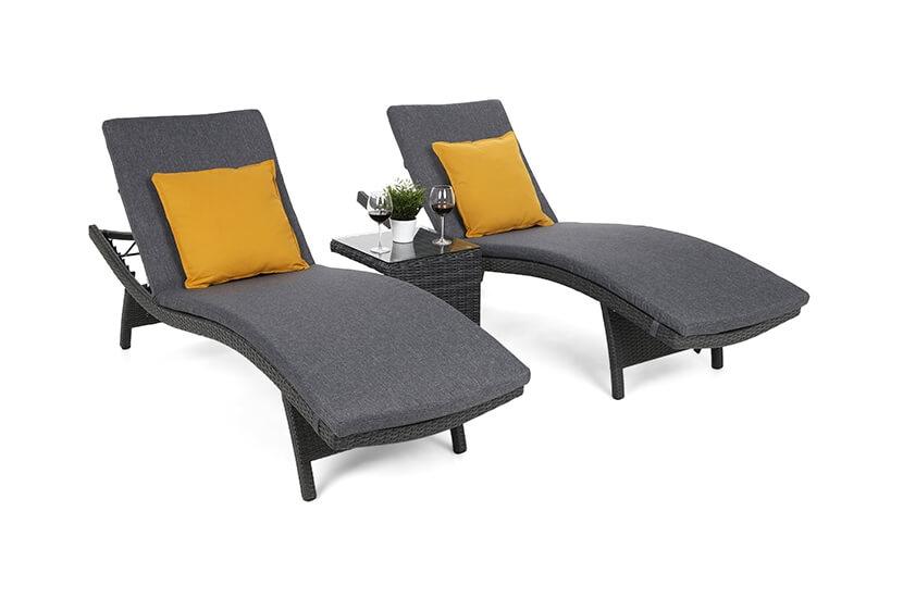 Leżaki ogrodowe COSTA  Grey/Grey ze stolikiem