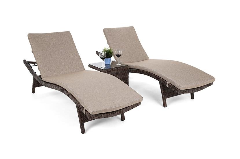 Leżaki ogrodowe COSTA  Mat/ Brown Melange  ze stolikiem