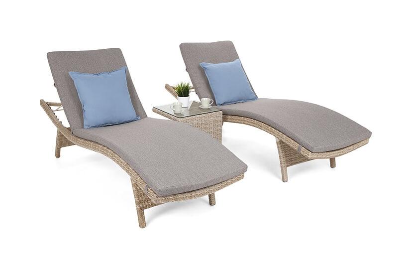 Leżaki ogrodowe COSTA  Beige/Beige Melange ze stolikiem
