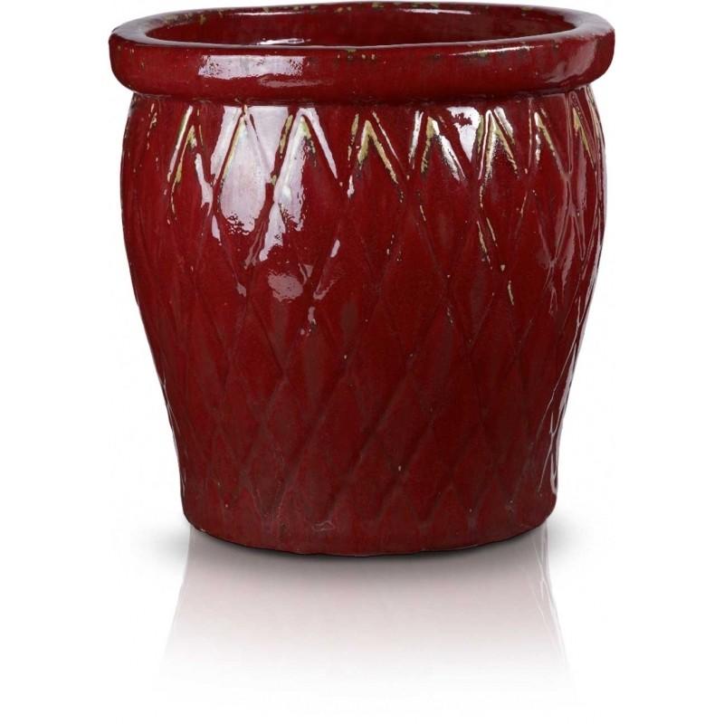 Klasyczna donica szkliwiona o okrągłej podstawie - szkliwiona red; średnica 60 cm; wysokość 50 cm