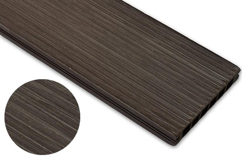 Deska szczotkowana – ciemny brąz – wąski rozstaw 2400x145x24 mm
