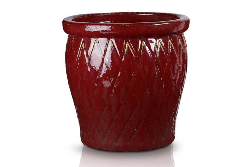 Klasyczna donica szkliwiona o okrągłej podstawie - szkliwiona red; średnica 30 cm; wysokość 30 cm
