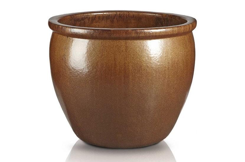 Klasyczna donica szkliwiona o okrągłej podstawie; średnica 60 cm; wysokość 48 cm