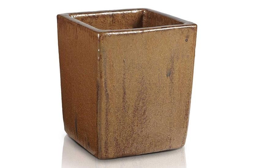 Donica szkliwiona o kwadratowej podstawie; średnica 33 cm; wysokość 40 cm