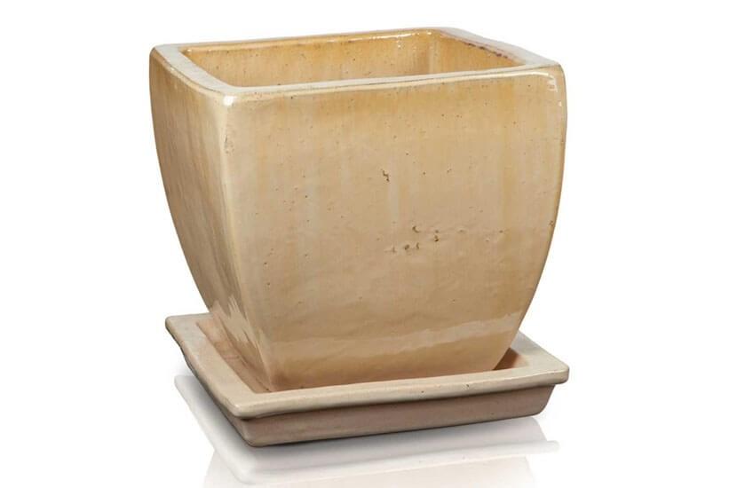 Donica szkliwiona o podstawie kwadratu z podstawkiem; średnica 25 cm; wysokość 24 cm