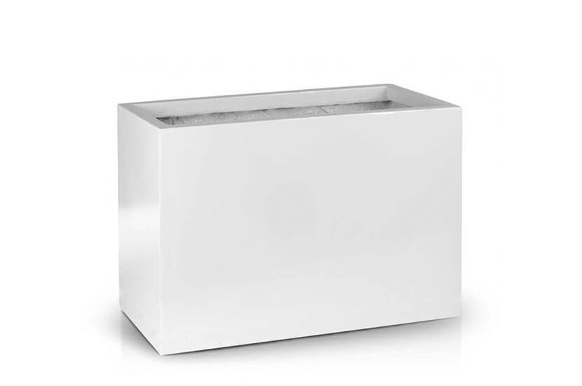 Donica Fiberglas rectangle white, średnica 80x38, wysokość 43 cm