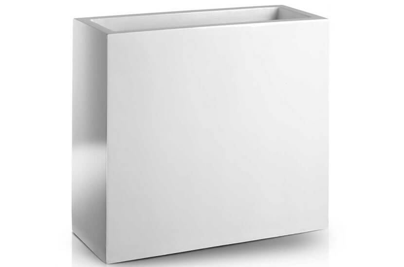Donica Fiberglass high rectangle white, średnica 55 cm x 20 cm, wysokość 50 cm