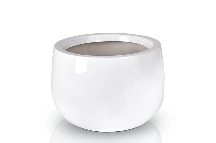 Donica Fiberglas bowl white, średnica 45 cm, wysokość 32 cm