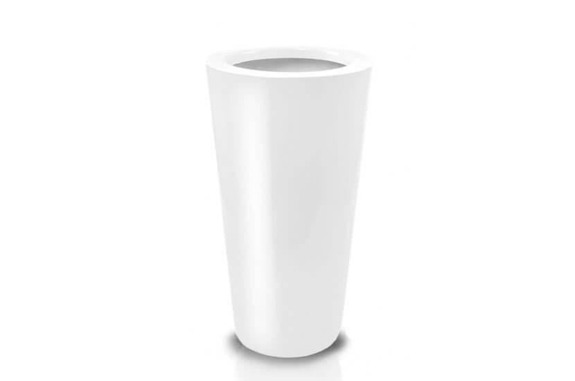 Donica Fiberglass cone - white, wysokość 92 cm, średnica 44 cm