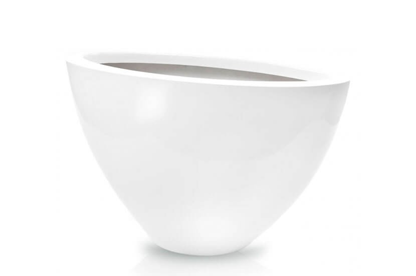 Donica Fiberglas oval white, średnica 76 cm x 38 cm, wysokość 47 cm