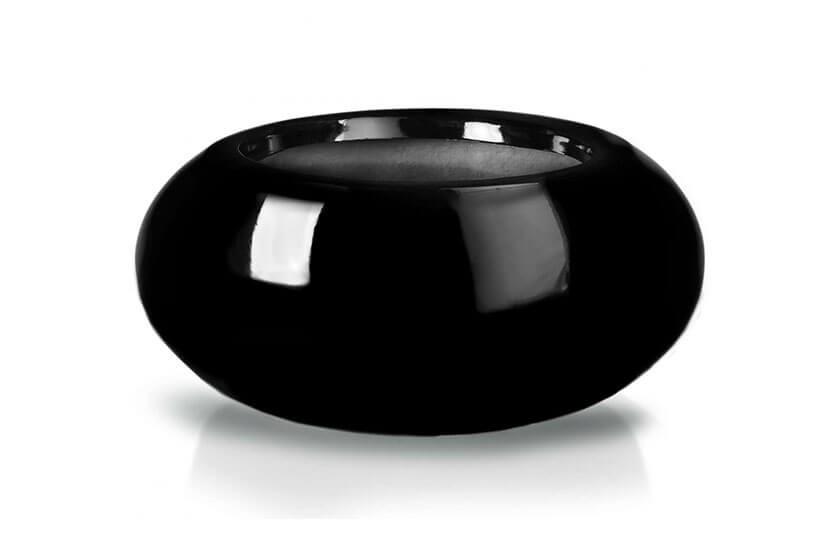 Donica Fiberglass ufo - black, średnica 72 cm, wysokość 36 cm