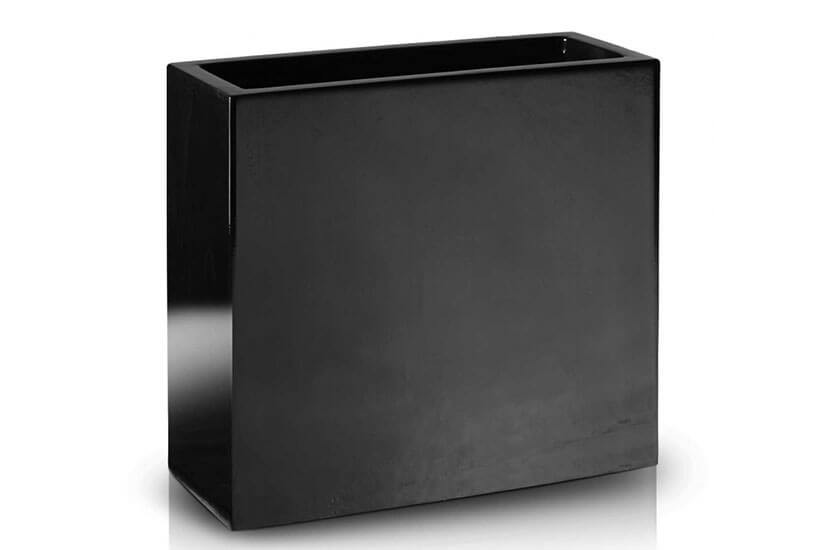 Donica Fiberglass high rectangle black, średnica 55 cm x 28 cm, wysokość 60 cm