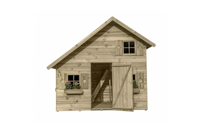 Piętrowy domek ogrodowy z drewna dla dzieci - Ania