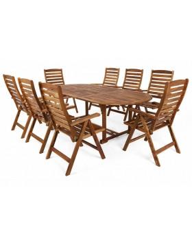 Meble ogrodowe drewniane Oval 180+60 cm 8+1