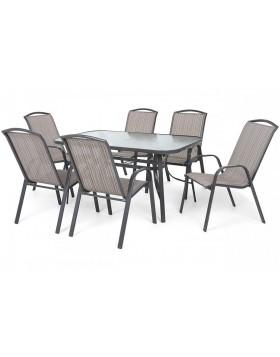 Meble ogrodowe metalowe Colorado Grey / Beige Striped 6+1