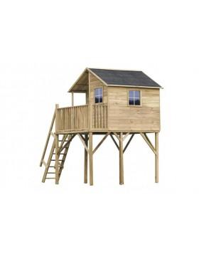 Drewniany domek ogrodowy dla dzieci - Jacek max ze ślizgiem, podwójną huśtawką i platformą