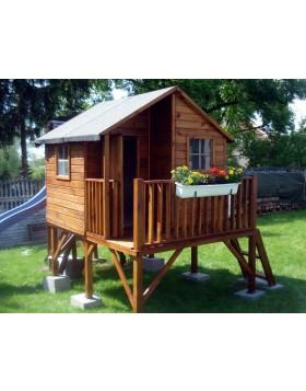 Drewniany domek ogrodowy dla dzieci - Jacek - bez ślizgu