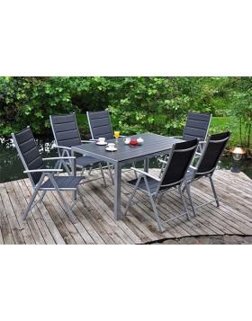 Meble ogrodowe aluminiowe Safari Black 6+1