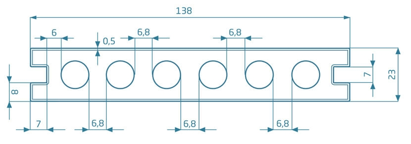 Deska Prestige – dąb natural/dąb szary 2200x138x23 mm