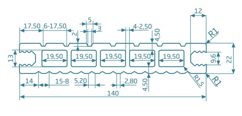 Deska szlifowana-deseniowana – jasny brąz – szeroki rozstaw 2200x140x22 mm