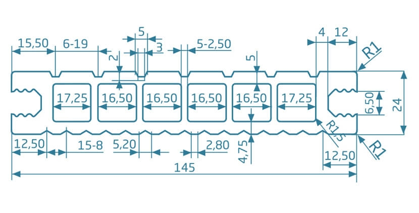 Deska szlifowana-deseniowana – dąb brąz – szeroki rozstaw 3600x145x24 mm