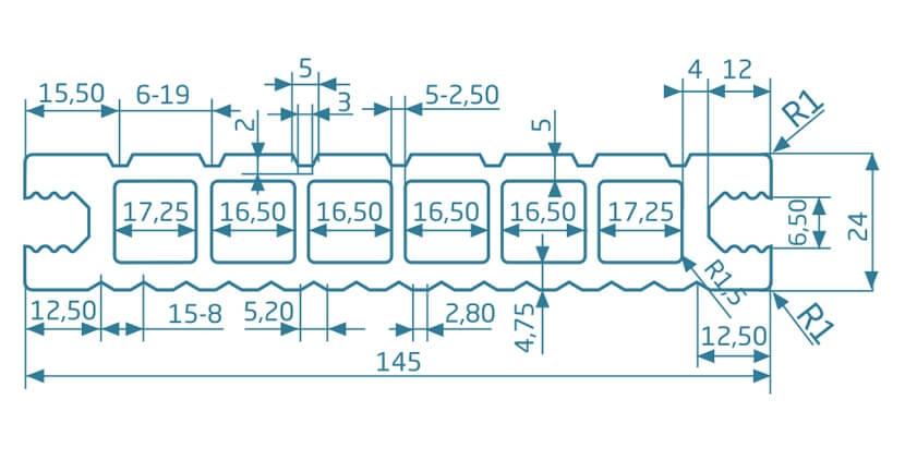 Deska szlifowana-deseniowana – ciemny brąz – szeroki rozstaw 3600x145x24 mm