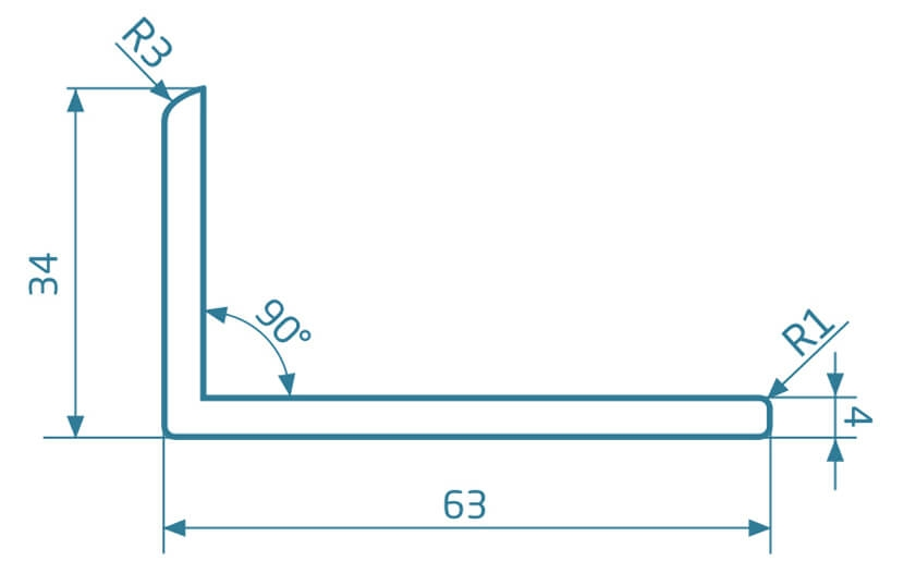 Listwa narożna L - jasny brąz 2400x63x34.5 mm
