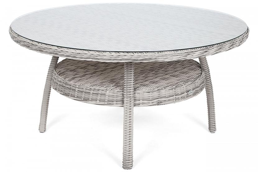 Meble ogrodowe technorattanowe Ikar Round 150 cm Light Grey / Grey Melange 6+1