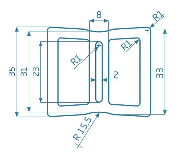Legar komorowy WPC - antracyt 2200x40x35 mm