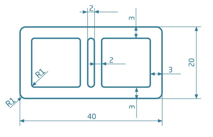 Legar komorowy WPC - antracyt - 2200x40x20 mm