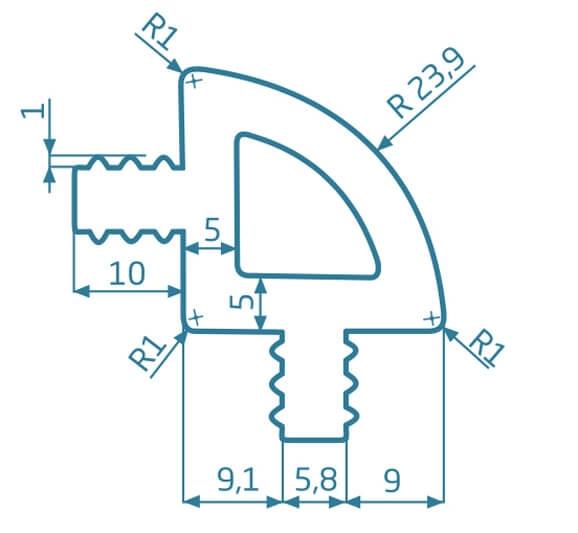 Ćwierćwałek WPC - grafit (24x34x2400)