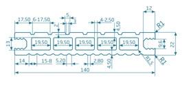 Deska szczotkowana – grafit – szeroki rozstaw 2400x140x22 mm