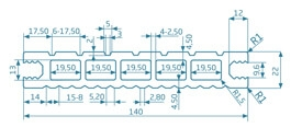 Deska standard – ciemny brąz – szeroki rozstaw  3200x140x22 mm