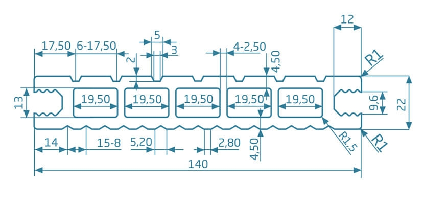 Deska szlifowana- jasny brąz – szeroki rozstaw 3600x145x24 mm