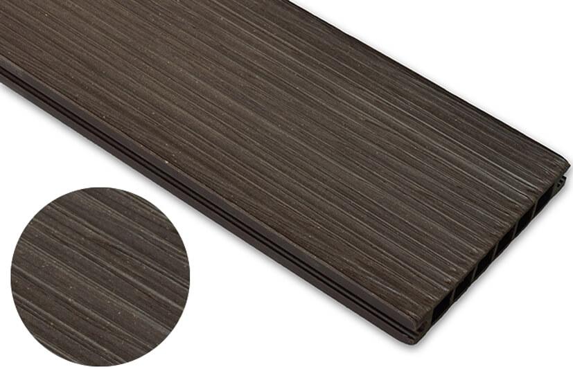 Deska szczotkowana – ciemny brąz – wąski rozstaw 3600x140x22 mm