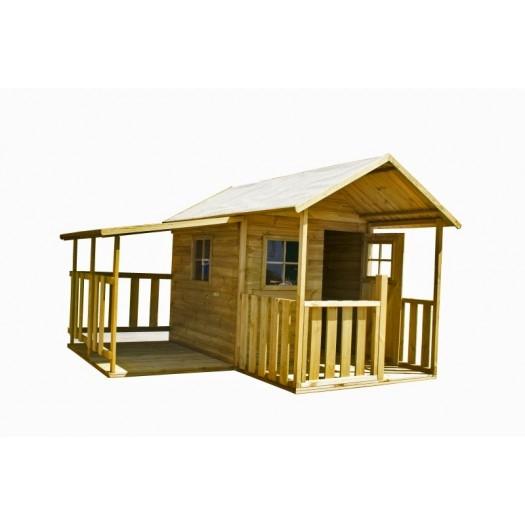 Drewniany domek ogrodowy dla dzieci - Blanka z garażem