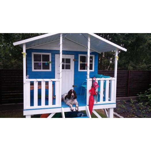 Drewniany domek ogrodowy dla dzieci - Gucio ze ślizgiem