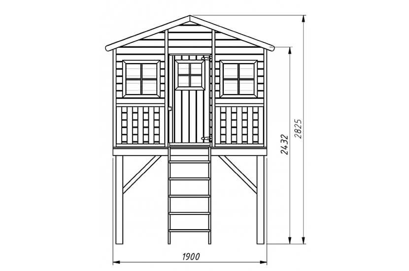 Drewniany domek dla dzieci Grześ podwójna huśtawka + platforma i ślizg