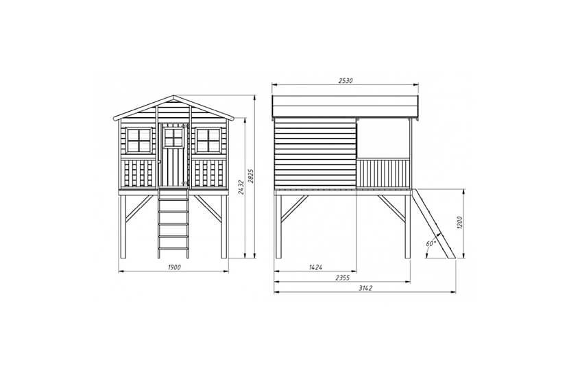 Drewniany domek dla dzieci Grześ z podwójną huśtawką