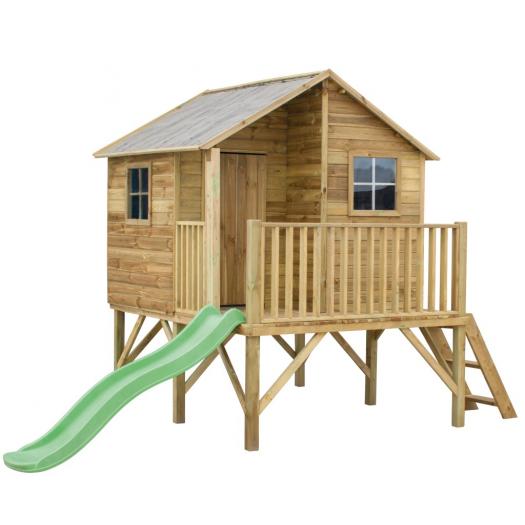 Drewniany domek ogrodowy dla dzieci - Jerzyk ze ślizgiem